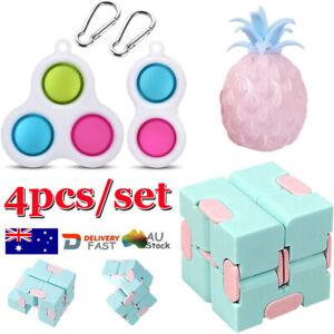 4PC Fidget Toys Set Kit Sensory Tools Bundle Stress Relief Hand Kids Adults ADHD