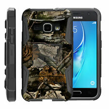 For Samsung Galaxy J Series Phone Case Holster Clip Armor Black Tree Leaves Camo