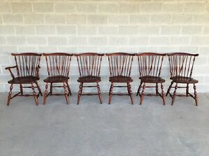 MOUNT VERNON CHERRY WINDSOR BRACE BACK DINING CHAIRS - SET OF 6
