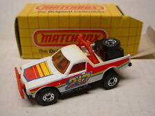 MATCHBOX #58 Racing Pickup, White Body, Black Base, Red Interior, 217 Tampo