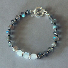 U&C Sundance Blue Black White - Moonstone Spinel Labradorite 925 Silver Bracelet