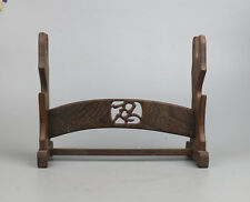 """display stand brown hard wood Chinese wooden carved sword shelf base 12.6"""""""