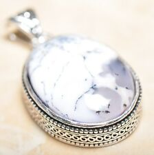 "Handmade Dendritic Tree Natural Agate 925 Sterling Silver Pendant 2"" #P14008"