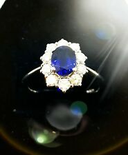 Stunning 1.27ct Sapphire and diamond ring 18ct white gold. New.