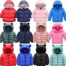Kids Baby Boys Girls Winter Warm Down Snow Hooded Coat Puffer Jacket Outwear Top