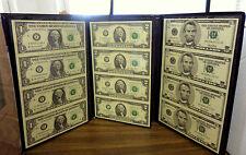 LOT OF 3 BLACK ANGUS BANKERS PORTFOLIO UNCUT US PAPER MONEY $1, $2, & $5, W/ COA