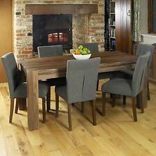 Shiro solid walnut dark wood furniture large dining table and six chairs set