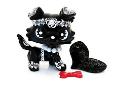 Littlest Pet Shop OOAK Dog Black White Fancy Flower Deco Collie Dog Custom LPS
