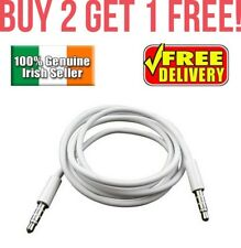 WHITE 3.5mm TO 3.5mm 1M CAR AUX AUDIO CABLE For iPhone, Samsung, LG, Nokia, mp3