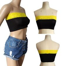 SEXY NEW Women Casual Club YELLOW Lace Black Bodycon Bandeau Tube Top Tee SMALL