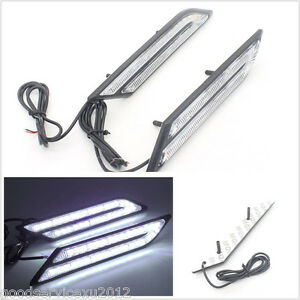 One Pair Blade Shape Super Bright HID White LED Car SUV Fog Light DRL Waterproof