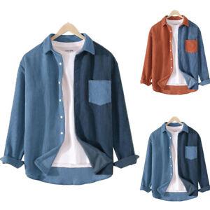 Männer Langarmhemd Freizeithemden Button-Down Kragen Cordjacke Worker Shirt'