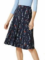 M&S Marks and Spencer Navy Floral Print A-Line Midi Skirt Cotton Blend RRP£29.50