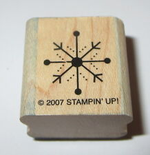 """Snowflake Stampin' Up! Winter Rubber Stamp Snow Wood Mounted Retired 1"""" Seasons"""