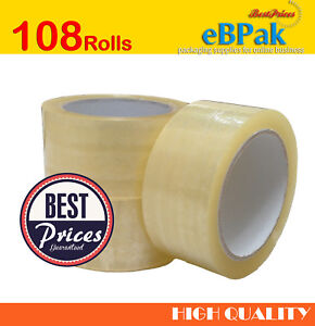 Clear Packing Tape 48mm x 75m Sticky Packaging Sealing Box Carton x108