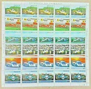 30 FRANCOBOLLI PARAGUAY FORMULA 1 F1 FERRARI 126 C2 ATS-FORD D06 PORSCHE 956