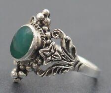 Chalcedony Womens Ring Sterling Silver Flower & Leaf Shoulders Fine Jewelry