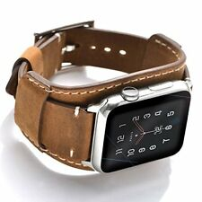 Apple Watch 5 4 3 2 1 Band 44mm 42mm Men Genuine Leather Crazy Horse Cuff Brown
