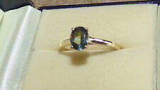 Green Tanzanite Solitaire Gold Ring  1.14ct
