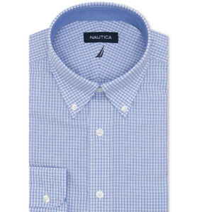 Nautica Classic/Regular-Fit Comfort Stretch Wrinkle-Free Check Dress Shirt L
