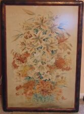 DECORATIVE VINTAGE ANTIQUE JAPANESE CHINESE WATERCOLOR OF TIGER LILIES SIGNED