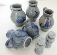 Bembel Sammlung 5 xWeinkrug Steinzeug blau grau 0,3l/ 02 l + Salz & Pfefferstreu