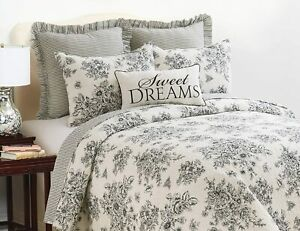 COTTAGE BLACK ROSE ** King ** QUILT SET : FRENCH COUNTRY SHABBY ONYX TOILE NELLY