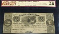 CANADA ,AGRICULTURAL BANK 1837, $5 SERIAL # 1404