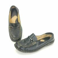 Born Black Leather Penny Loafers Shoes Womens Size 8 Slip On Career Casual Flats
