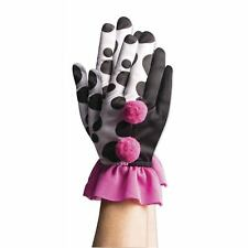 Womens Harlequin Clown Black White Pink Polka Dot Ruffle Pierrot Costume Gloves