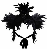 """Handmade Victorian Rooster Feather Shawl Choker Collar Satin Ribbons Tie 39"""" New"""