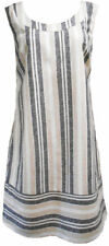 Womens Linen Dress Striped Summer Holiday Size UK 10 12 14 16 18 20 - Branded