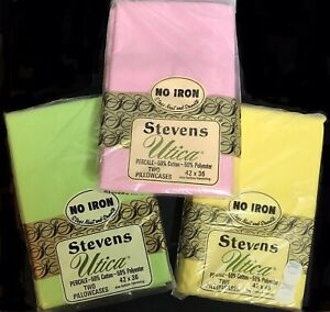 Vintage Utica Stevens Pillow Cases Pink & Green 42 x 36 Yellow 42 x 46 NIP 3 set