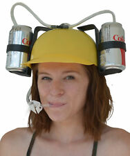 Beer & Soda Guzzler Helmet & Drinking Hat, Yellow - Party Hat Novelty Gift NEW!
