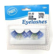 Halloween Costume Party Eyelashes - Floral Blue & Green- Fake Lashes