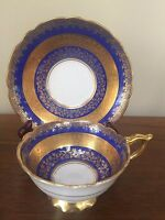 Royal Stafford COBALT BLUE & ENCRUSTED GOLD BAND Footed Cup & Saucer  Set