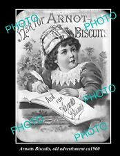 OLD LARGE HISTORIC PHOTO OF ARNOTTS BISCUITS ADVERTISING, ca 1900 2