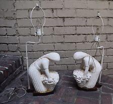 Table Lamp Lighting Flower Lady Basket Statue Carved Set 2 Vintage