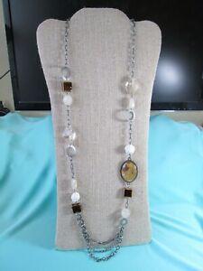 "Matte Gunmetal Tone Multi-Media Chain Necklace 36""/ MOP Acrylic & Ceramic"