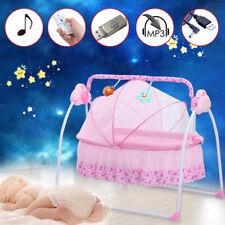 Rosa Elektrisch Baby Wiege Bett Babywippe Vibration Melodie Fernsteuerung DHL