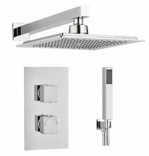 Square Concealed Thermostatic Shower Mixer Valve 2 Handle 2 Way Overhead Kit