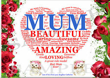PERSONALISED KEEPSAKE/CARD MUM HEART SIZE 5 X 7in - LAMINATED WITH MAGNET STRIP