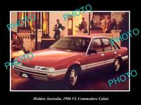 8x6 HISTORIC PHOTO OF GM HOLDEN, 1986 VL HOLDEN COMMODORE CALAIS PRESS PHOTO