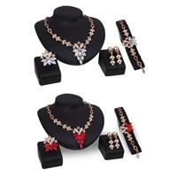 Women Wedding Gold Plated Necklace Earrings Jewelry Sets Rhinestone Crystal  DI