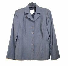 Oscar de La Renta - 12 (L) - Charcoal Gray 100% Wool Long Sleeve Blazer Jacket