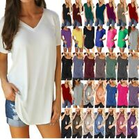 Plus Size Women Summer Short Sleeve Blouse Casual Loose Tunic T Shirt Tee Tops