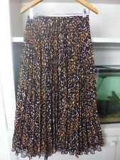 WHISTLES CARRIE PLEATED MIDI SKIRT - LEOPARD PRINT - SIZE 10