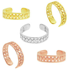 Diamond Shapes Geometric Adjustable Toe Ring Solid Yellow White Rose Gold Bead