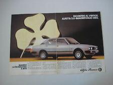 advertising Pubblicità 1982 ALFA ROMEO ALFETTA 2.0 QUADRIFOGLIO ORO