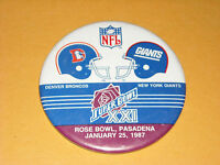 "Super Bowl XXI Denver Broncos vs. New York Giants 3 1/2"" Pin / Button"